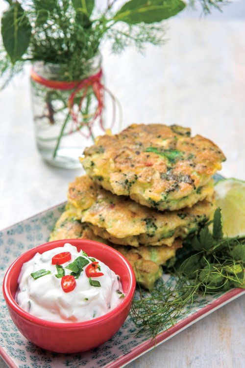 Broccoli fritters with lime dressing