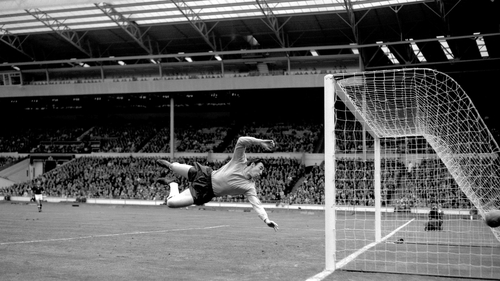 Gordon Banks makes a save in a 1965 match against Hungary at Wembley