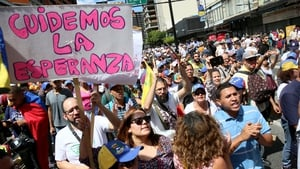 A demonstration organised by opposition leader Juan Guaidó President in the Venezuelan capital Caracas