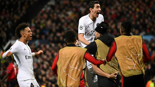 Angel Di Maria celebrates Kylian Mbappe's goal against Manchester United
