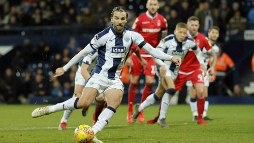 Jay Rodriguez scores the equaliser for West Brom