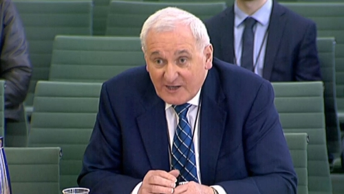 Bertie Ahern was giving evidence to the Committee for Exiting the European Union in London