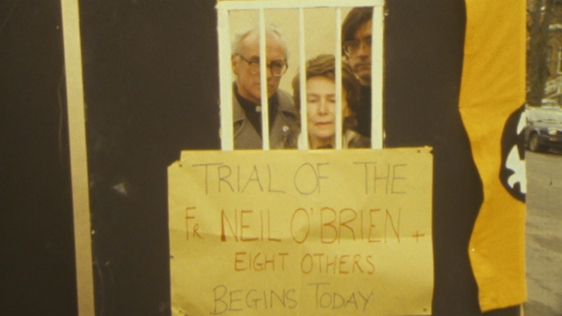 Olivia O'Brien Protests at the US Embassy in Dublin in support of her son Fr Niall O'Brien
