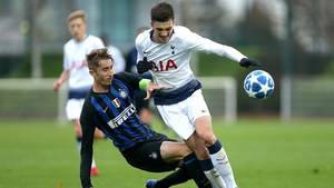 Ryan Nolan tackles Spurs forward and fellow Republic of Ireland youth international Troy Parrott during a UEFA Youth League match between Tottenham and Inter last November