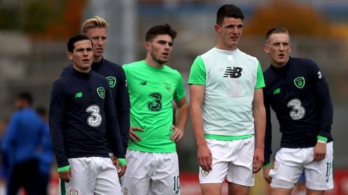Declan Rice training with the Irish U21 side in 2017