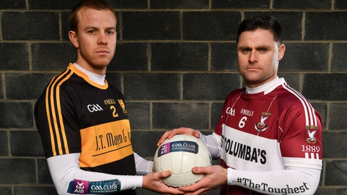 Dr Crokes defender Fionn Fitzgerald, left, and Mullinalaght's Shane Mulligan