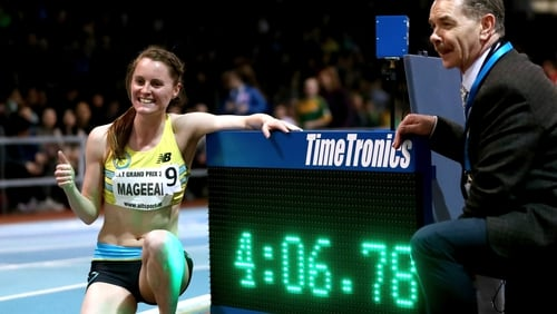 Ciara Mageean's winning time of 4:06:78 eclipsed her previous personal best of 4:08:66