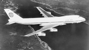 Up, up and away: a Pan-Am Boeing 747 in flight. Photo: Getty Images