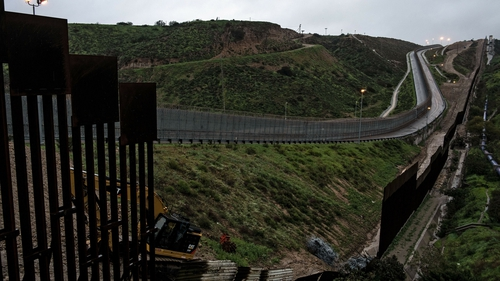 A section of reinforced US-Mexico border fence seen from Tijuana in Mexico