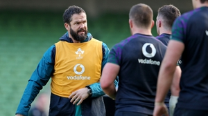 Farrell working with Ireland's players on the training field