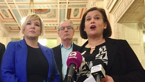 Sinn Féin leader Mary Lou McDonald and deputy leader Michelle O'Neill speaking at Stormont