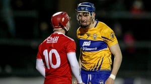 Daniel Kearney and David Fitzgerald square up to each other at Pairc Ui Rinn