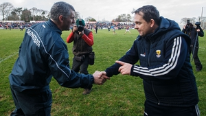Tipperary boss Liam Sheedy (L) and Wexford manager Davy Fitzgerald shake hands at the final whistle