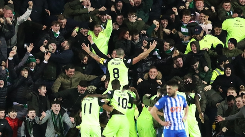 The Celtic midfielder was shown a second yellow for running into the crowd during the celebrations
