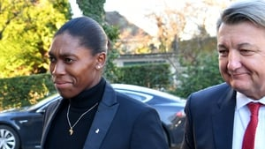 Semenya and her lawyer Gregory Nott arrive at the CAS