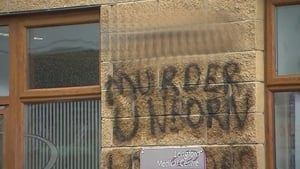 The graffiti was sprayed on a wall outside a doctor's clinic