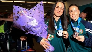 Kellie Harrington (L) and Katie Taylor after the 2016 World Championships where they won silver in light-welterweight and bronze in lightweight respectively