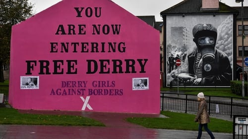 """The """"Derry Girls Against Borders"""" muralat Free Derry Corner in October 2018. Photo: Charles McQuillan/Getty Images"""