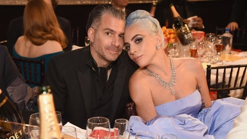 Christian Carino and Lady Gaga at the Golden Globe Awards in Beverly Hills in January