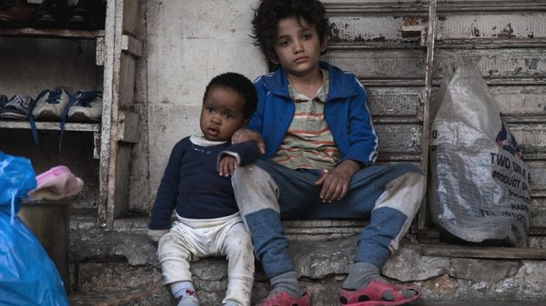 Toddler and child-minder: Boluwatife Treasure Bankole and Zain Al Rafeea in the moving Capernaum.