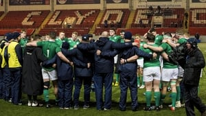 Ireland Under-20s huddle together after their win against Scotland