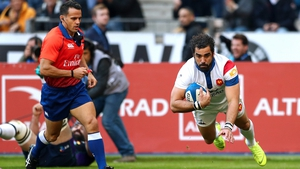 France's Yoann Huget scores their second try