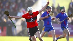 Conor Browne celebrates scoring UCC's second goal