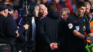 Tottenham Hotspur manager Mauricio Pochettino confronts referee Mike Dean after the game