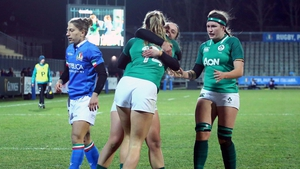 Ireland's Eimear Considine celebrates her try with Michelle Claffey and Anna Caplice