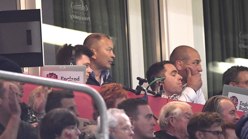 Eddie Jones watching the game anxiously from his perch in the Principality Stadium