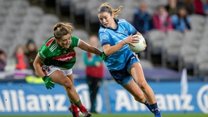 Siobhan Killeen rounds Danielle Caldwell during Dublin's narrow win over Mayo in GAA headquarters