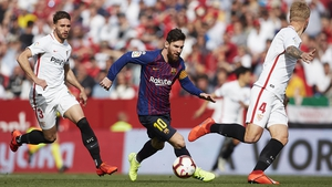 Lionel Messi rattled three goals past Sevilla