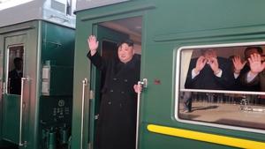 Kim Jong-un waves ahead of his departure from Pyongyang