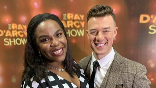 Demi Isaac with partner Kai Whitherton on The Ray D'Arcy show