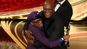 "Spike Lee is congratulated by Samuel L Jackson - ""Let's all mobilise, let's all be on the right side of history, make the moral choice between love versus hate"""