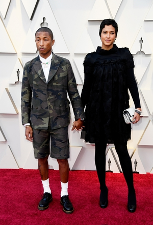 Pharrell Williams stunned in a cropped camo-print tuxedo