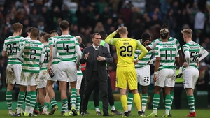 Celtic manager Brendan Rodgers was not amused at Motherwell's goal on Sunday