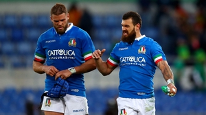 Italy's Dean Budd and Jayden Hayward react following the Six Nations defeat to Ireland