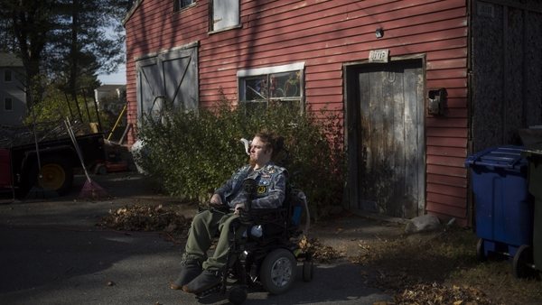 Film-maker and muscular dystrophy suffered Michael Norton in Portland, Maine. Photo:Brianna Soukup/Portland Press Herald via Getty Images