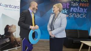 Minister for Business Heather Humphreys and Avantcard CEO Chris Paul