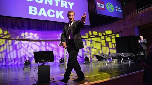 Nigel Farage canvassing ahead of the 2016 Brexit referendum. Photo: Jeff J Mitchell/Getty Images