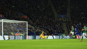 Jamie Vardy fires home the winning goal