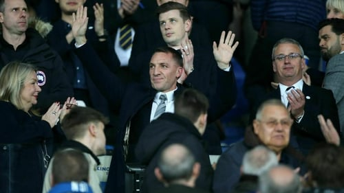 Brendan Rodgers is introduced to the crowd at Leicester City