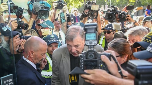 Cardinal Pell arrives in court in Melbourne for sentencing on historical child abuse charges