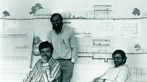 Peter Rice, seated left, with fellow collaborators in design and structure