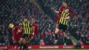Virgil van Dijk climbs highest to head home for Liverpool