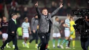 Neil Lennon celebrates the win at Tynecastle.