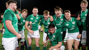Ireland celebrating their recent Six Nations defeat of England at Musgrave Park