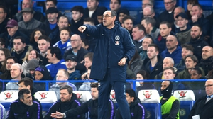 Maurizio Sarri on the sideline during Chelsea's midweek win over Spurs