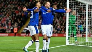 Gylfi Sigurdsson (C) and Dominic Calvert-Lewin (L) are optimistic Everton can improve